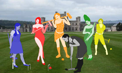 The Fictional Six play croquet