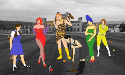 The Fictional Six play croquet (colored)