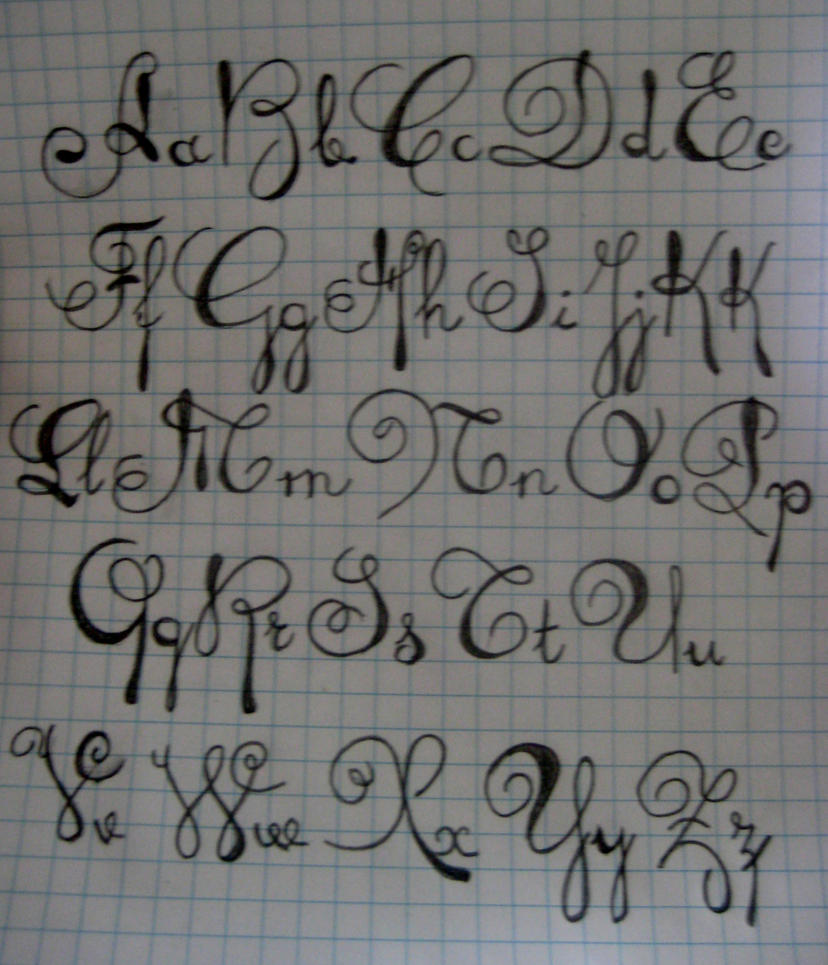 Fancy handwriting letters tattoo Script art