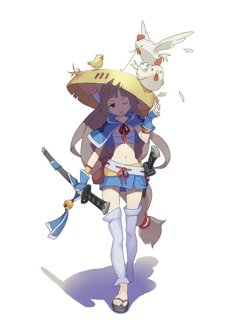 Girl samurai of  bamboo hat by lascalis