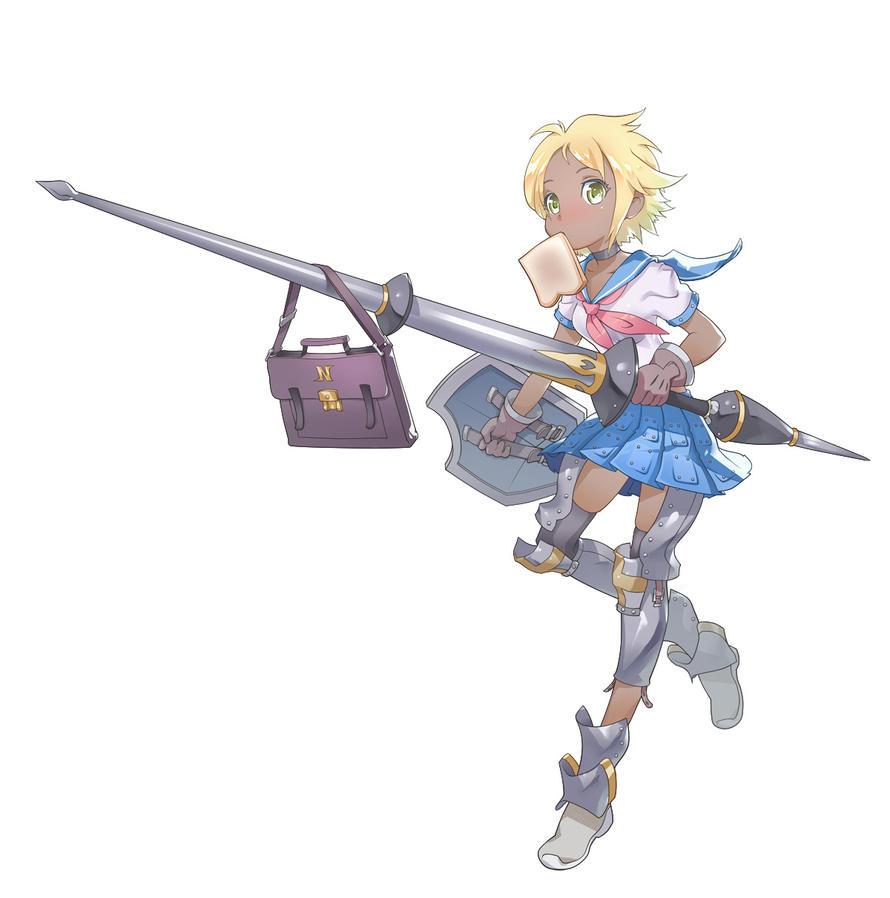 Anime girl with lance