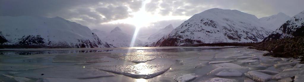 Portage Glacier Panorama by katdesignstudio
