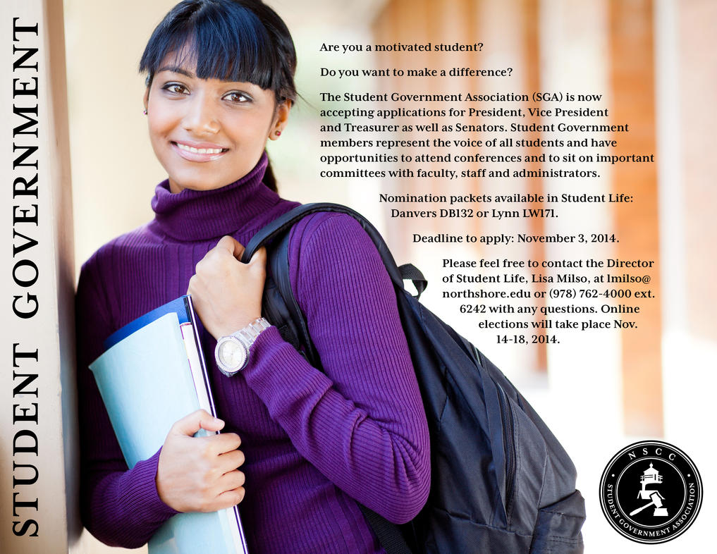 North Shore Community College: SGA Elections Flyer by katdesignstudio