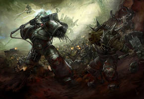 Iron Hands vs Orks by Diana-Martinez