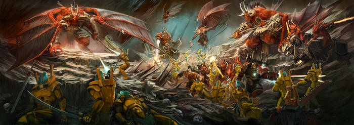Khorne vs Eldar by Diana-Martinez