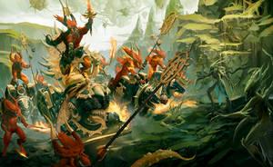 Bloodthrone of Khorne vs Dryads by Diana-Martinez