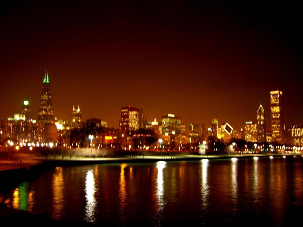 chicago night skyline wallpaper - photo #7
