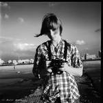 camera girl bw