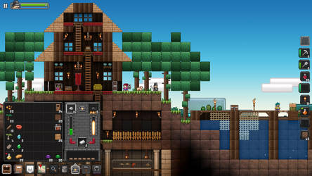 Overworld and buildings art of Junk Jack