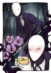 Slenderman and His British Tea of the 5 A.M. by LeSardine