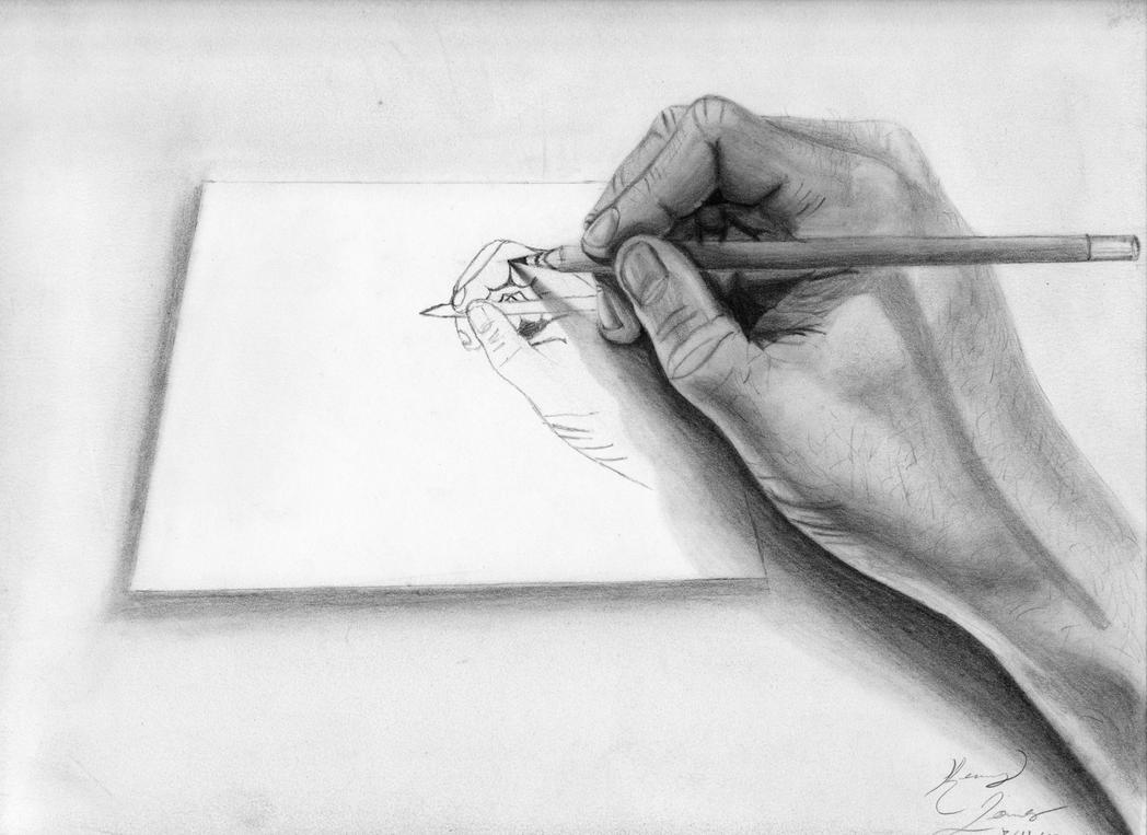 D Line Drawing Of Hand : Hand drawing by kenpjones on deviantart