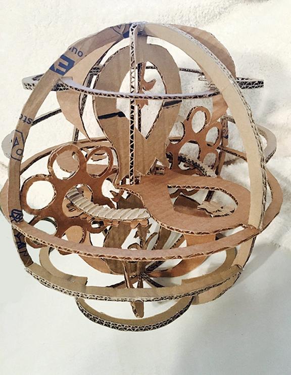 Cardboard Flower Sphere by LadyLore3