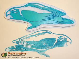 Beep the Peachfaced Lovebird stamp by FoxedFerret