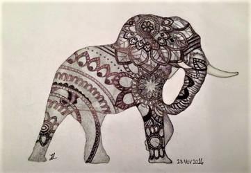 copy-Henna Design Elephant Sketch 23NOV2016 by Jaeyelle