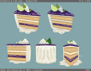 Blueberry and Lime cake - Handpainted