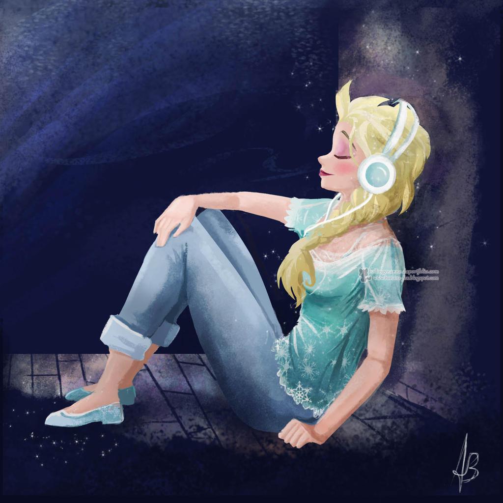 Elsa listening to music