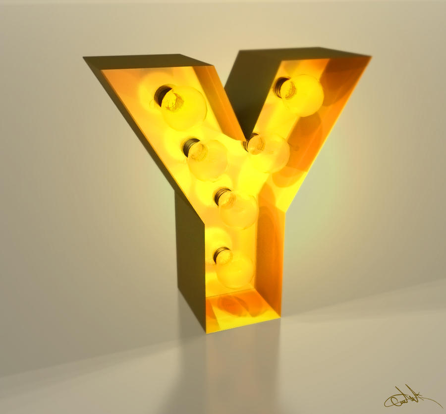 "Retro Tabela Tarzý ""Y"" Harfi 3D Çalýþma"