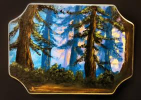 Sunset Forest (Acrylic on Wood)