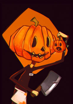 drawtober d-08 // pumpkin butcher
