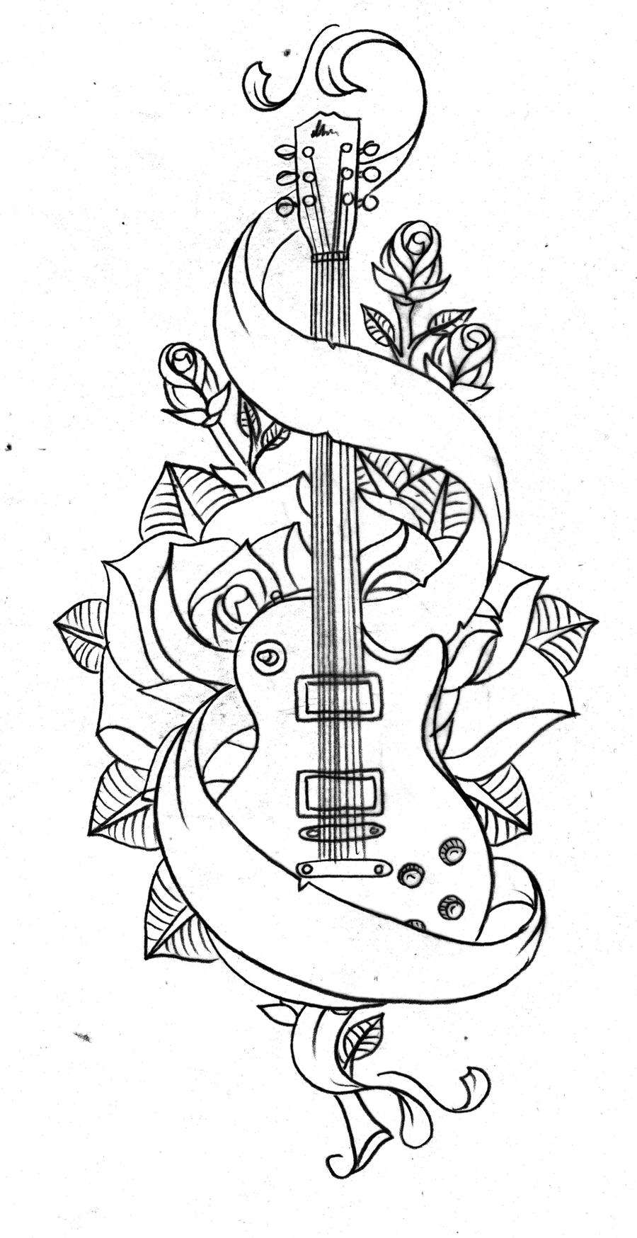 Old school guitar by Nevermore-InkAcoustic Guitar Drawing Tattoo
