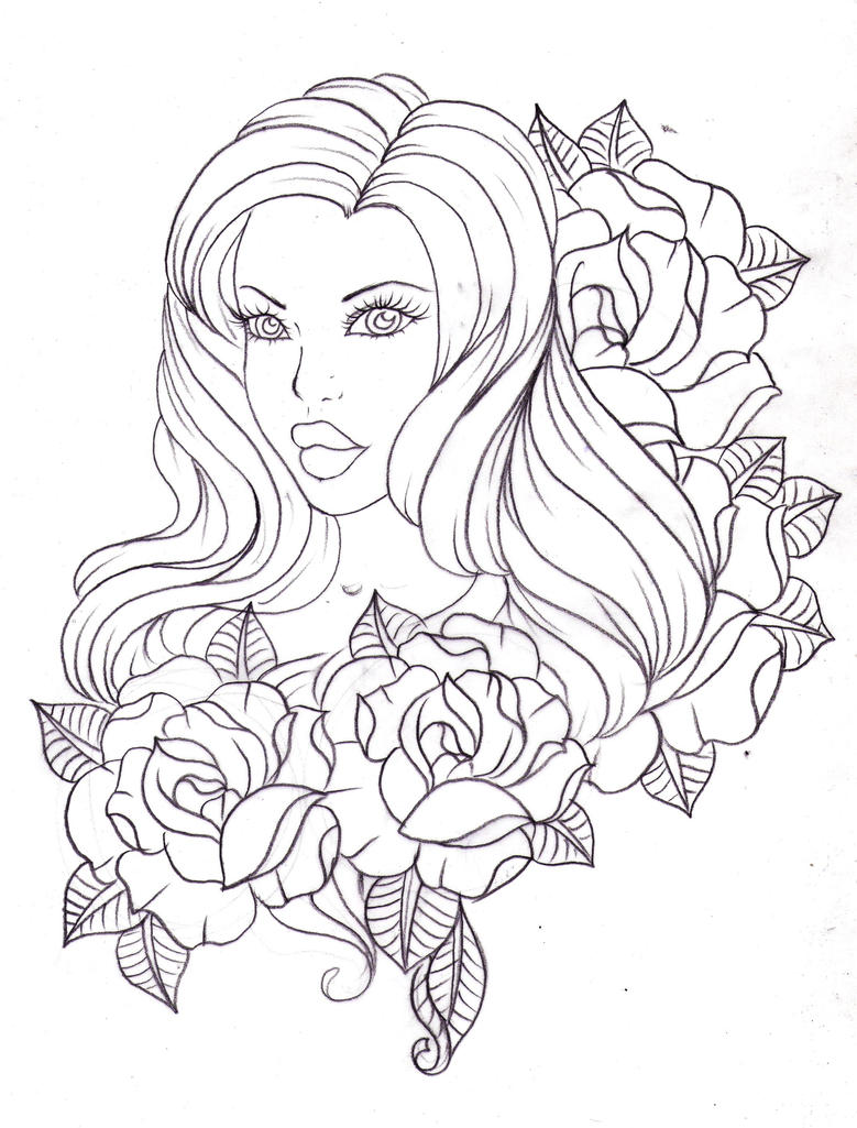 Tattoo Line Drawing Books : A lady among roses by nevermore ink on deviantart