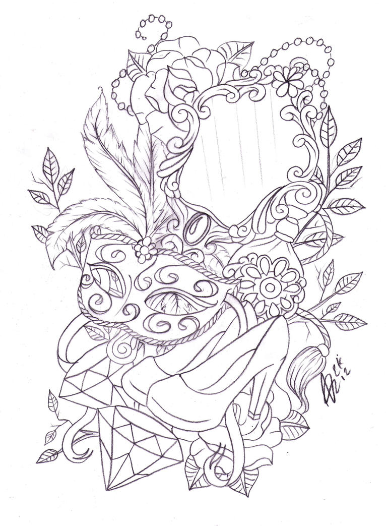 hand mirror sketch. Leg Mask And Mirror Tattoo Sketch By Nevermore-Ink Hand