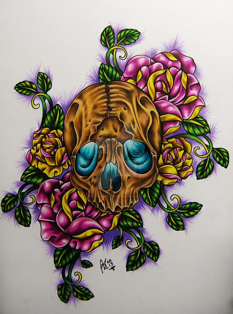 Skull and roses by Nevermore-Ink