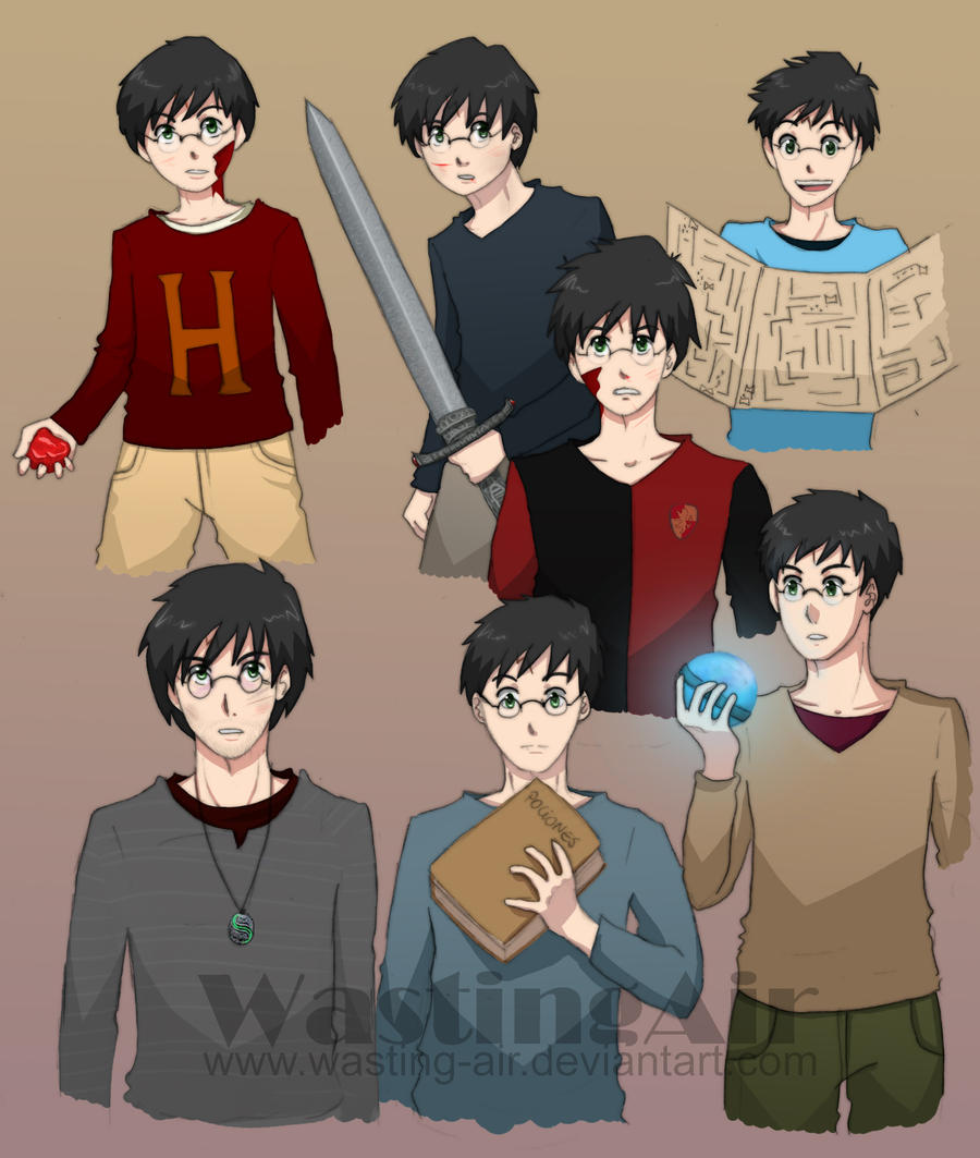 Harry Potter Through The Years By Wasting Air On Deviantart