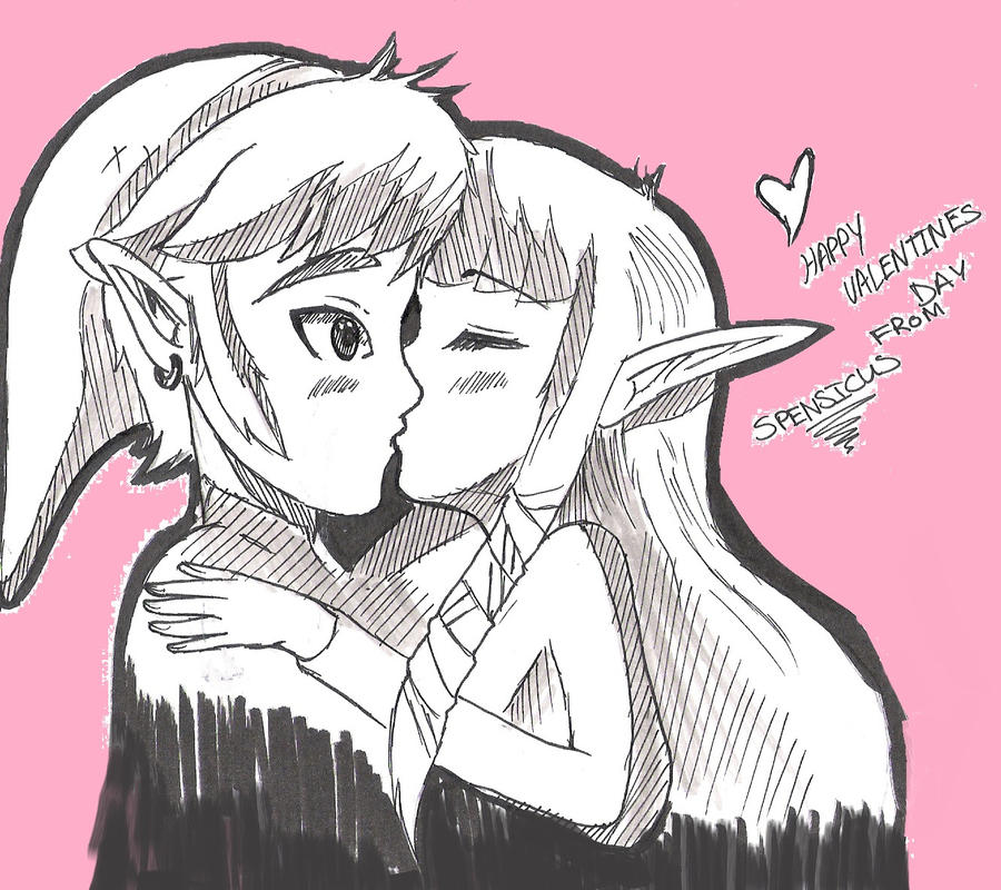 LINK AND ZELDA KISS FOR VALENTINE'S DAY by ZolaLink