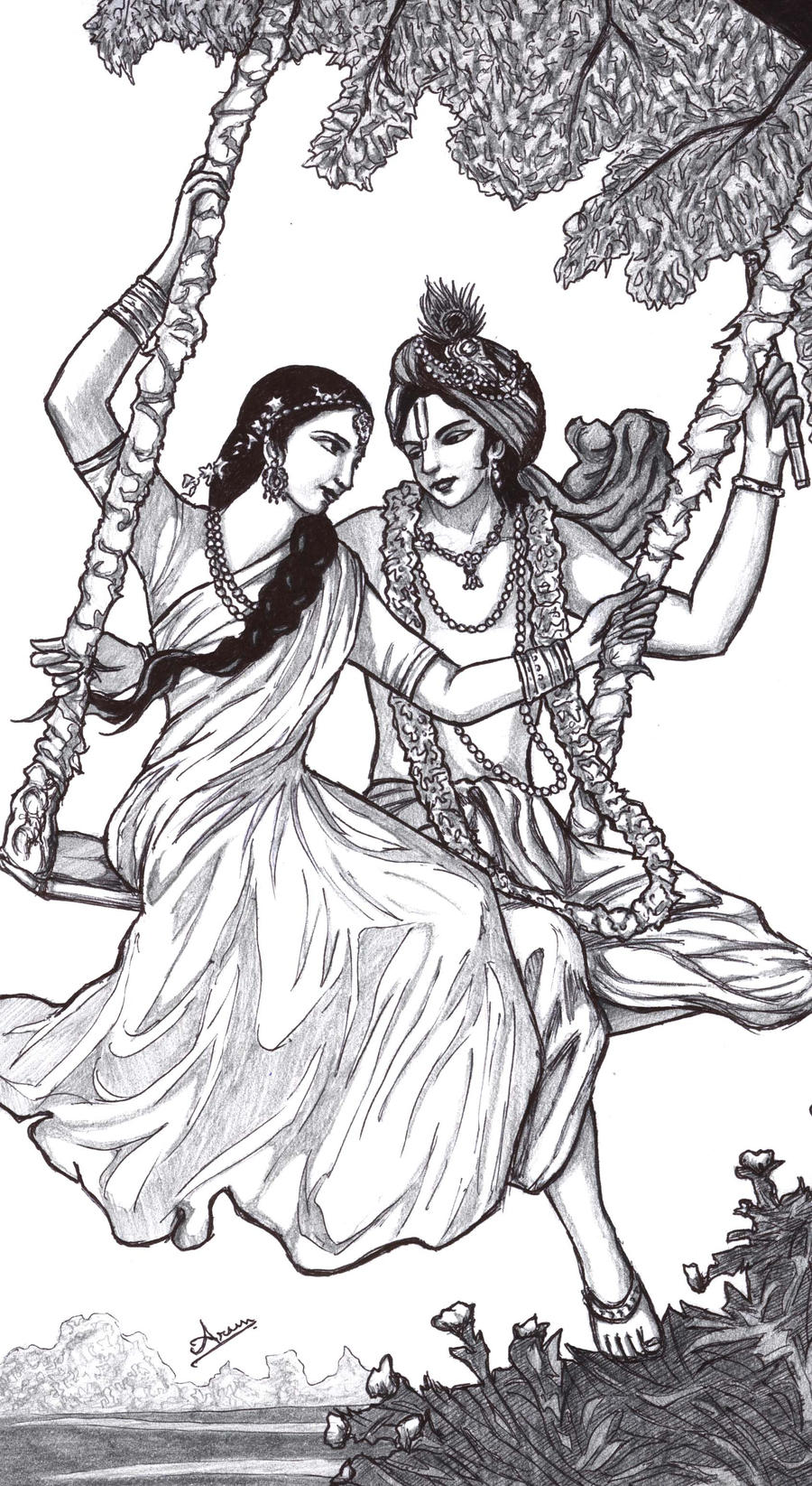 Line Art Krishna : Krsna radha swing by nairarun on deviantart