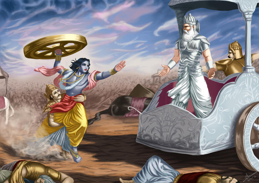 God Krishna Attacks Bhishma HD wallpapers for free download