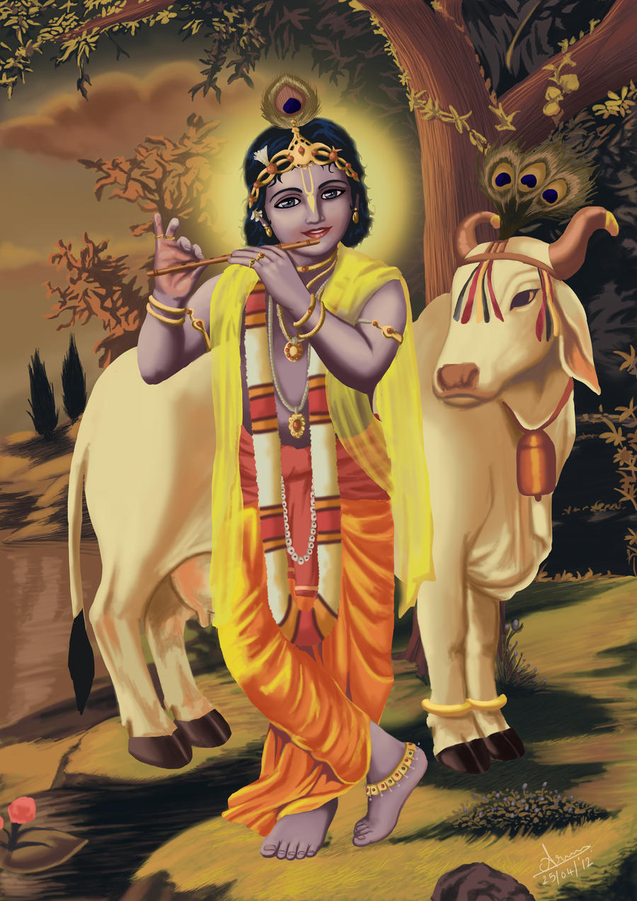 Lord Krishna With Cow God Images T Lord Krishna