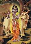 Krishna with a Cow in Vrndavan