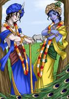 Lord Sri Krsna and Sri Balarama Anime style by nairarun15