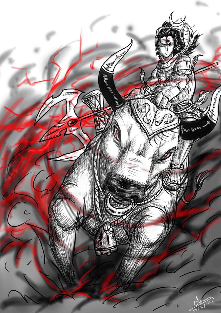 Anime sketch lord shiva and nandi by nairarun15
