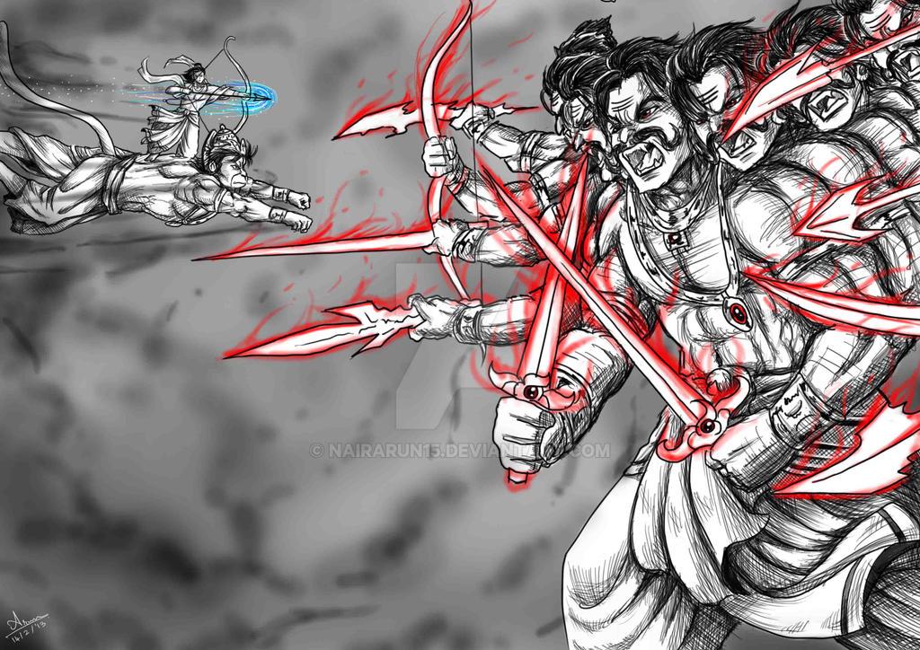 Anime Digi Paint Lord Rama Vs Demon King Ravana By Nairarun15