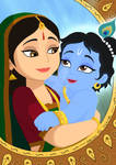 Digital Paint: Cute Krsna with Yashoda mai