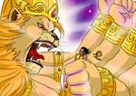 Narasimha catches Hiranyakasipu