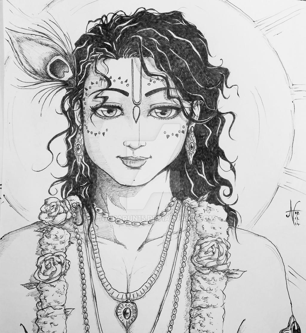 Traditional Sketch Sri Krishna In Vrndavan By Nairarun15 On Deviantart