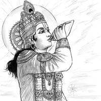 Digital Sketch: Krishna blowing His conch! by nairarun15