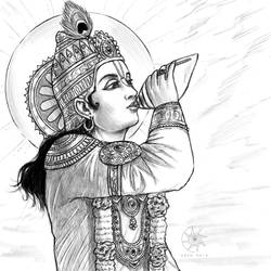 Digital Sketch: Krishna blowing His conch!