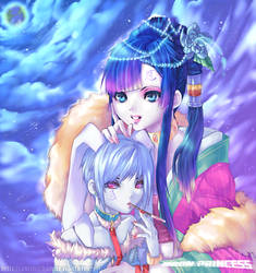 .Moon princess and her bunny . by sakimichan