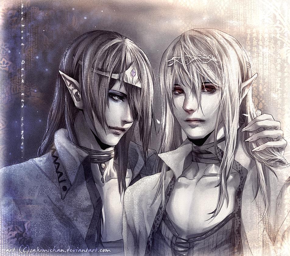 DArk and light .Elf king . by sakimichan