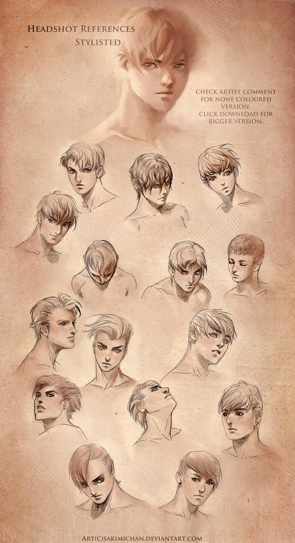 stylized head reference male by sakimichan on deviantart