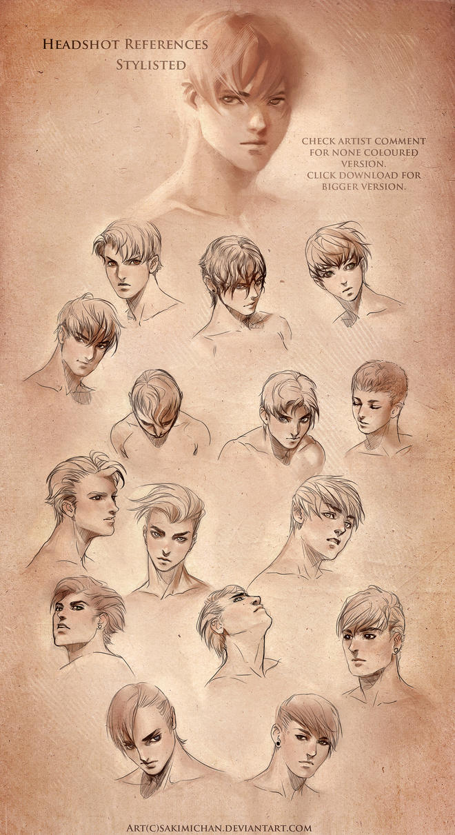 Stylized Head Reference .male by sakimichan