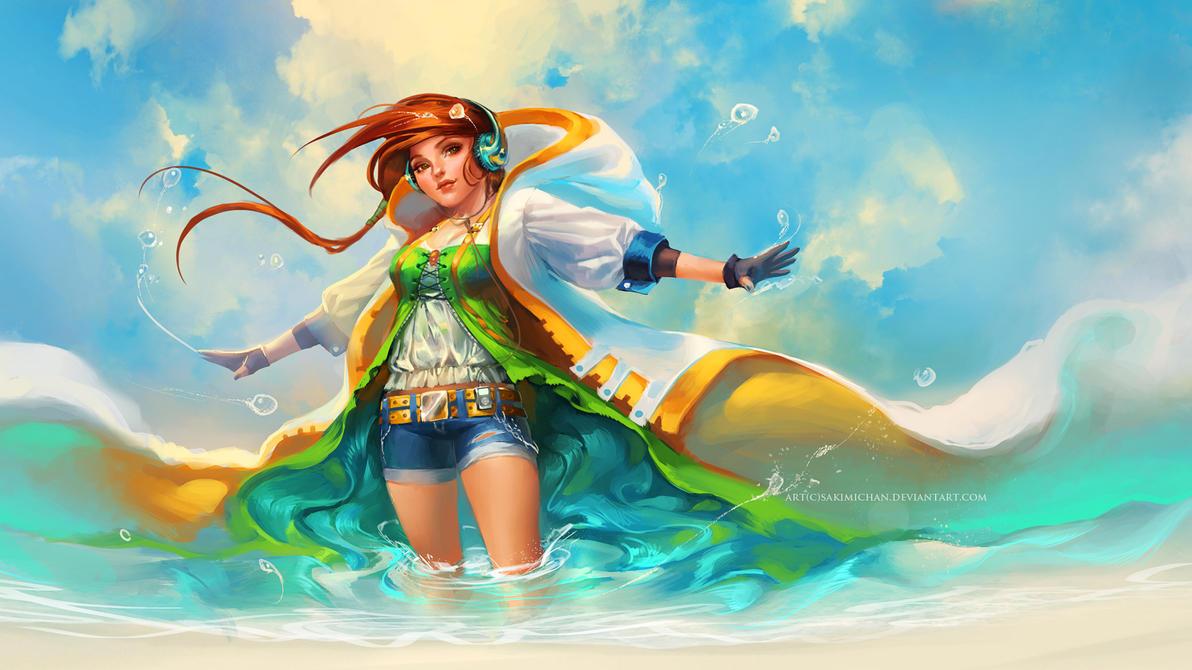 Beach Breeze by sakimichan