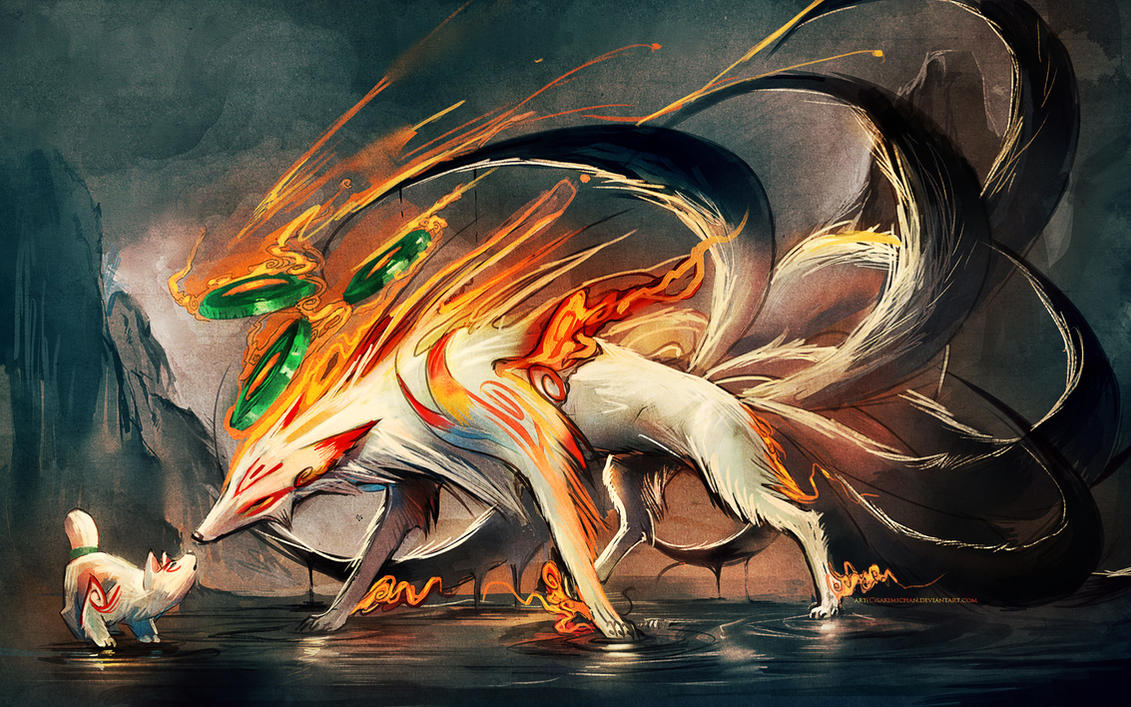 Nine Tailed fox and Pup by =sakimichan