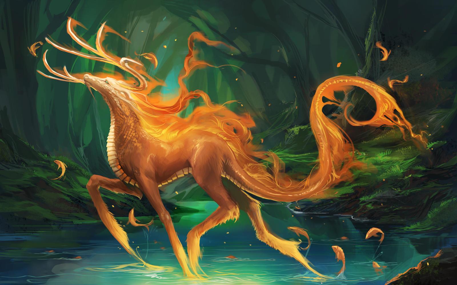 Fire Kirin by sakimichan