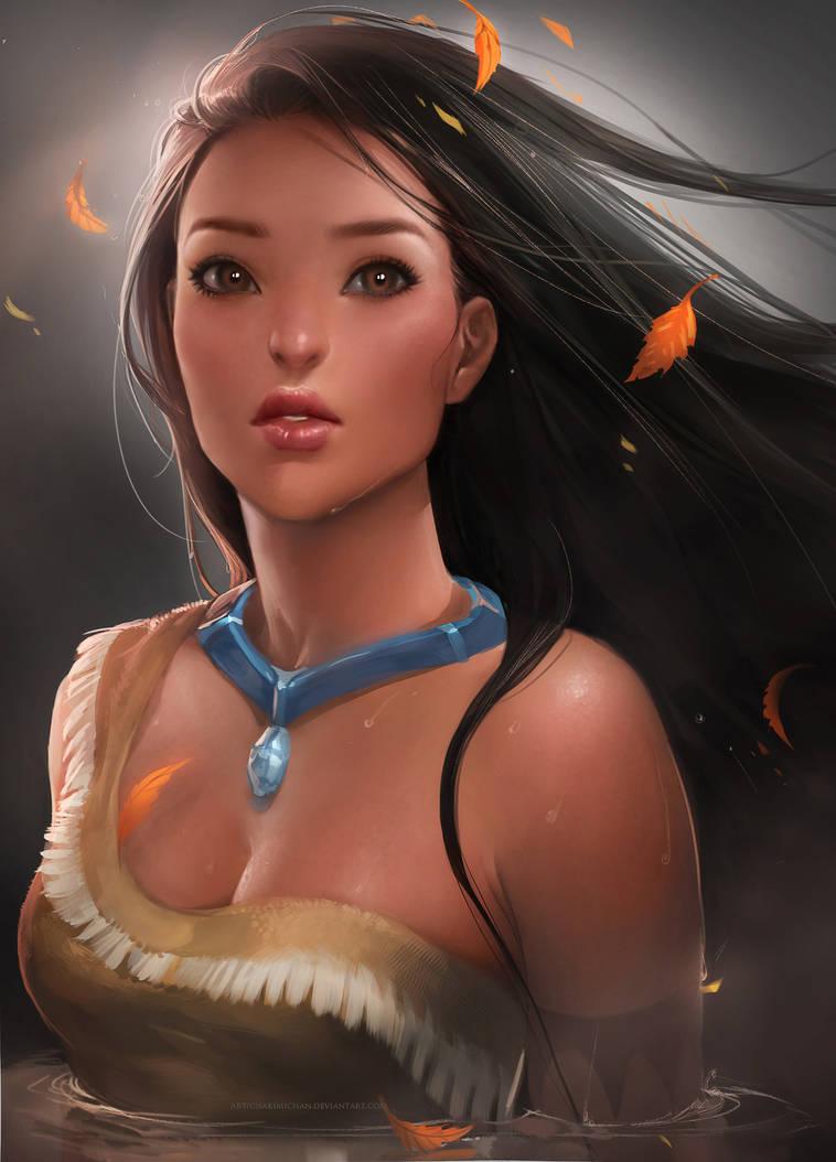 Pocahontas by sakimichan