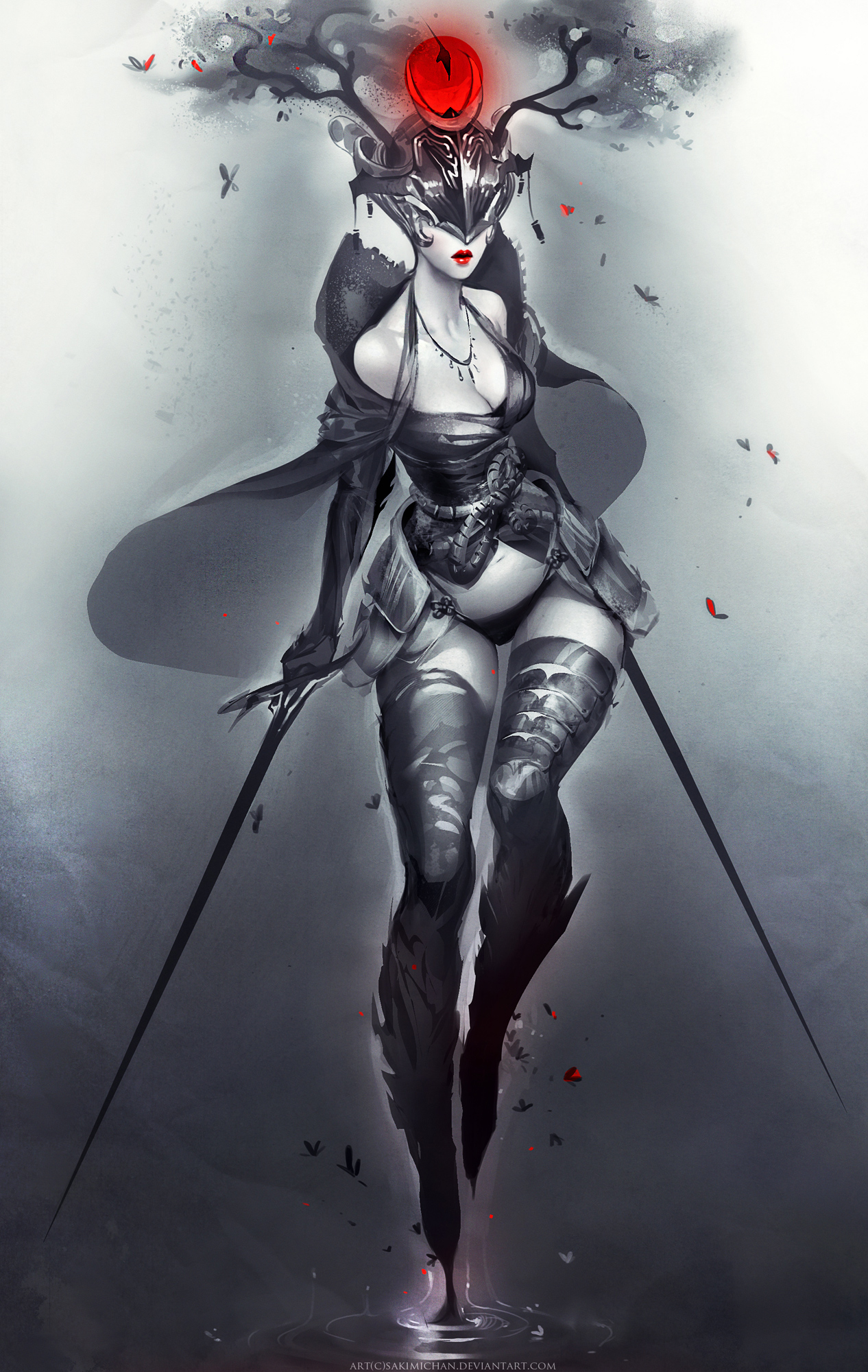 Sakura Demon Warrior by sakimichan